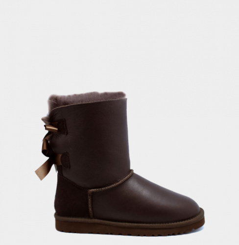 UGG BAILEY BOW METALLIC CHOCOLATE