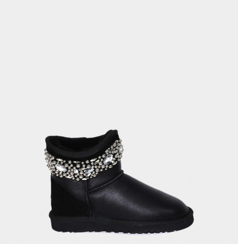 UGG & JIMMY CHOO CRYSTALS MINI METALLIC BLACK