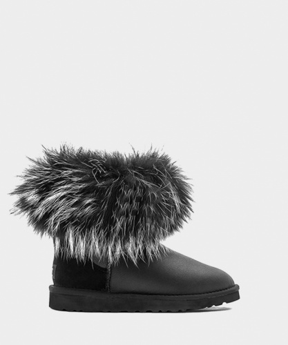 UGG FOX FUR METALLIC MINI ULTRA BLACK