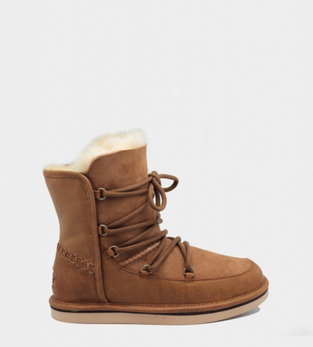 UGG LODGE LEATHER CHESTNUT