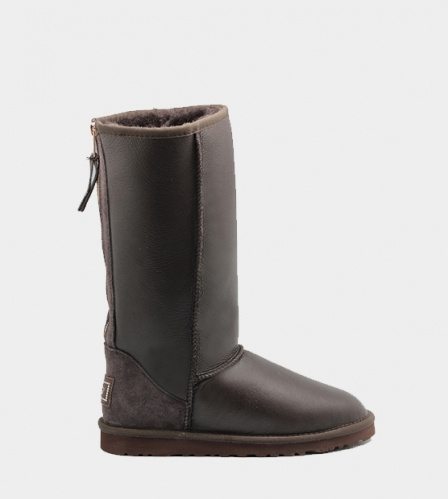 UGG TALL METALLIC ZIP CHOCOLATE
