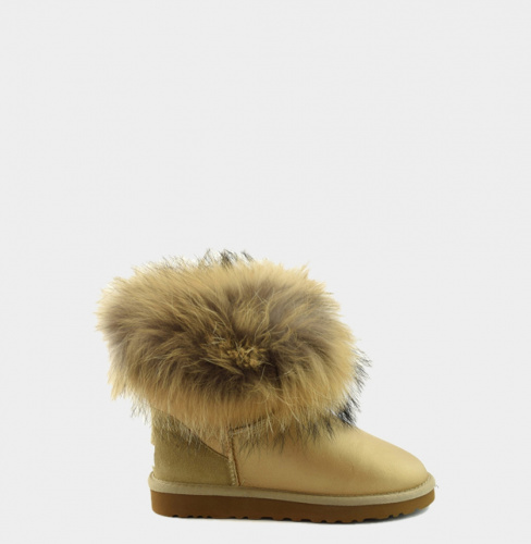 UGG FOX FUR METALLIC MINI SOFT GOLD