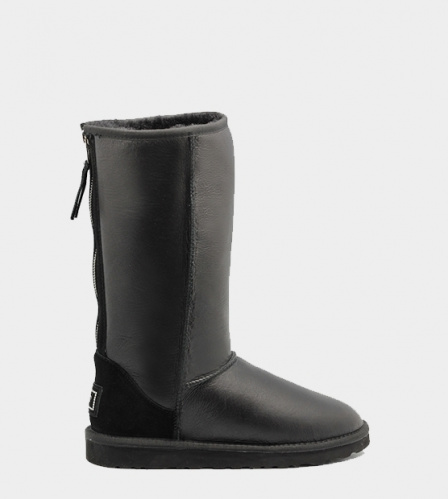 UGG TALL METALLIC ZIP BLACK
