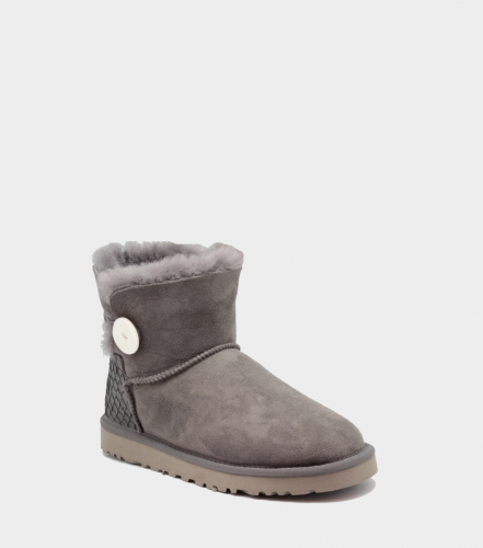 UGG BAILEY BUTTON MINI PERLA II WATERPROOF GREY фото 3