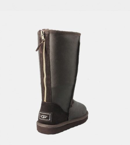 UGG TALL METALLIC ZIP CHOCOLATE фото 2