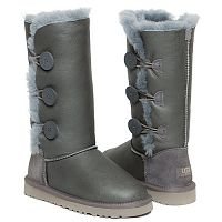 UGG BAILEY BUTTON TRIPLET TALL METALLIC GREY