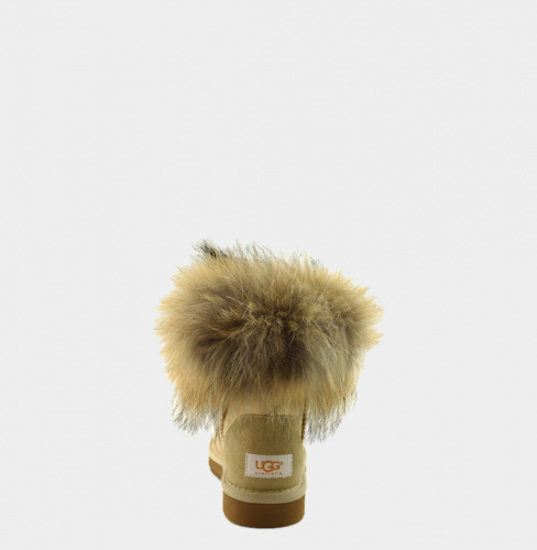 UGG FOX FUR METALLIC MINI SOFT GOLD фото 2