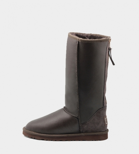 UGG TALL METALLIC ZIP CHOCOLATE фото 4